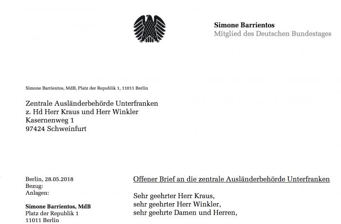 Offener Brief an die zentrale Ausländerbehörde Unterfranken von Simone Barrientos.