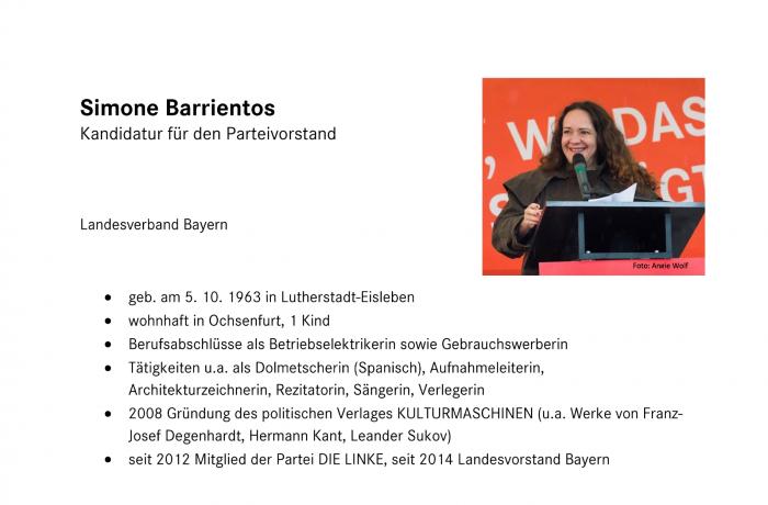 Kandidatur für den Parteivorstand, Simone Barrientos