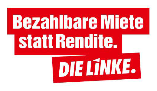 Banner von DIE LINKE. Bezahlbare Miete statt Rendite.