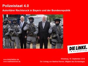Martina Renner in Würzburg, Vortrag über das bayerische Polizeiaufgabengesetz